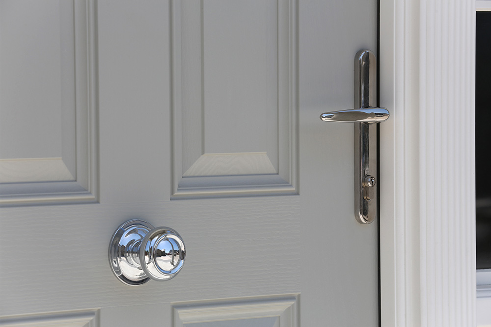Detail of Ross Door in Agate Grey with Chrome Ironmongory